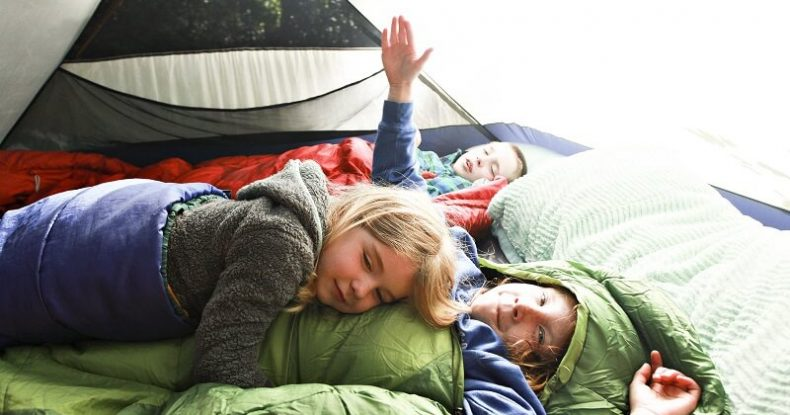 Kids in sleeping bags in tent
